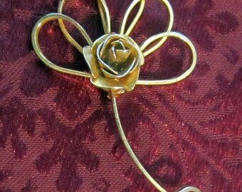 Vintage Gold Rose Brooch