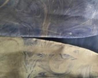 "Handmade marbled silk scarf 8"" x 54"""