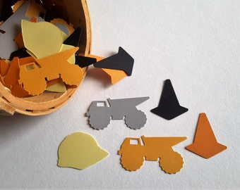 Construction Birthday Party Confetti, 50 Ct. Trucks, Helmet and Cones Confetti, Construction Party Decor.