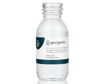 Natural Oil Pulling Mouthwash- Georganics Organic Coconut Oil Pulling Whitening Mouthwash - Wild English Peppermint