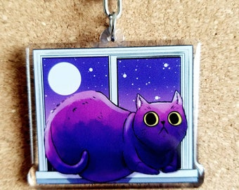 Night Watch cat keychain, cat and plants acrylic key charm, 2 inch double side acrylic keychain, purple cat & succulents, cactus cat charm