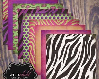 "Wild Child Digital Scrapbook Paper Pack (12x12""-300 dpi) - 8 Digital papers"