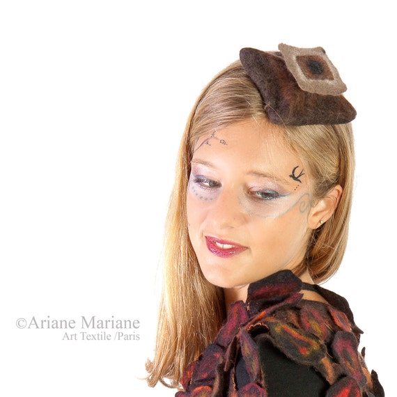 Sophisticated Millinery Fellt Tea Party hat, Brown Gray hair accessory, autumn winter