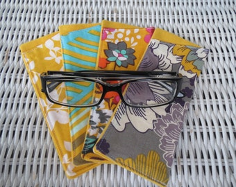 Retro-Looking Fabric Eyeglasses Cases in Bright Yellow, Reading Glasses Pouch, Reader's Pouch, Gift for Grandma, Aunt, Uncle, Sister, Mother