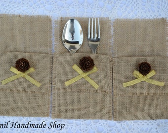 Silverware Holder, Pine Cone Table Decor, Burlap Silverware, Wedding Table Setting