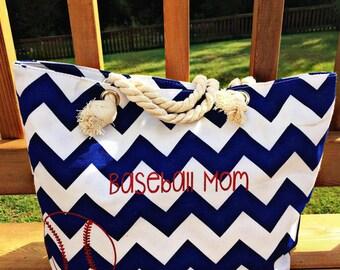 baseball tote,mom bag,baseball mom,chevron tote,game day bag,personalized tote,baseball season,mom tote,large tote,softball bag,softball mom