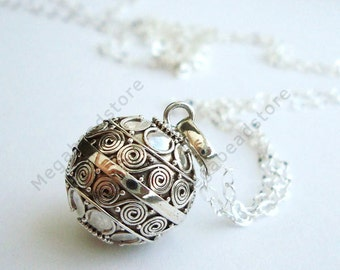 Baby Chime Necklace 16mm Mexican Bola Harmony Ball 36 inches Chain 925 Sterling Silver P74CH67