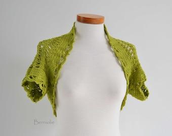 Crochet shrug bolero, Pistachio green, lace,  I982