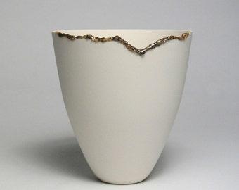 Unique Dematerialised Porcelain Vessel with Contrasting Glaze Feature