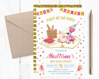 Flamingo Picnic Birthday Party Invitation, Picnic Flamingo Invitations, Flamingo Park Invitations, Flamingo Park Invites, Picnic Invite,