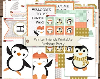 Winter Friends Girlfriends Printable Birthday Party Decorations INSTANT DOWNLOAD
