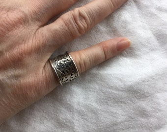 Silver Overlay Band Ring -- 833