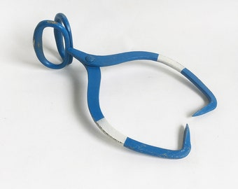 """Vintage Ice Block Tongs, Ice Carrier - Blue & White """"Rustic Farmhouse Chic Charm"""""""