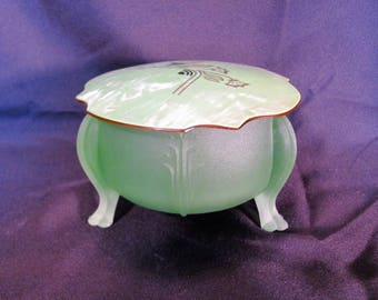 Green Frosted Powder Jar / Art Deco Powder Jar