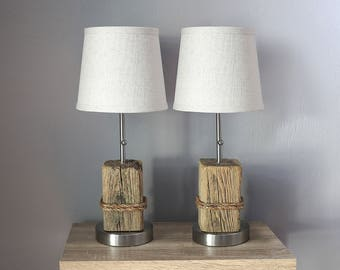 Nautical Accent Lamps, 2 pcs Pair DriftWood, Manila Rope, Beach Decor by SEASTYLE