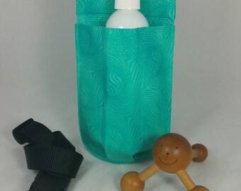 Massage therapy single 8oz bottle hip holster, Sparkly Mermaid, black belt