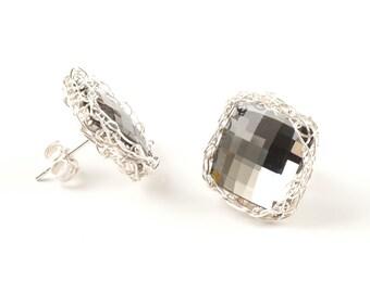 Gray Crystal post earrings , Stud Earrings , Crochet silver  wire , Geometric earrings , bridesmiads earrings , Square earrings