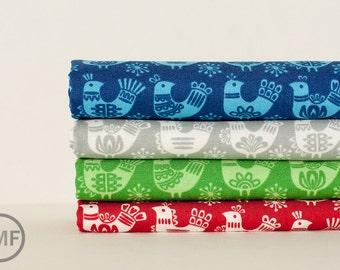 Half Yard Bundle Folk Art Holiday Birds, 4 Pieces, Gina Martin, 100% Cotton, Moda Fabrics, 10021