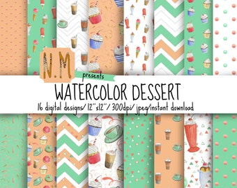 Watercolor cupcakes digital paper pack hand painted watercolor ice cream cupcakes coffee sundae background pattern mint peach summer paper