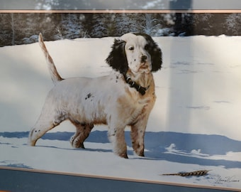 Vintage Phillip Crowe Mistaken Identity English Setter Signed and Numbered Limited Edition in Frame with Glass  Panchosporch