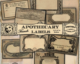 Medical Art Blank APOTHECARY Labels French Vintage Printable cards Antique Medicine Labels Medical student Doctor Gift Tag Digital Download