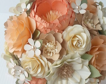 Paper Bouquet - Paper Flower Bouquet - Wedding Bouquet - Peach and Coral with Splashes of Champagne - Custom Made - Any Color