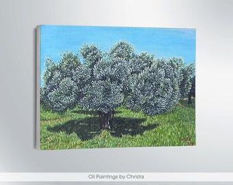 OLIVE TREE painting, Oil painting 8x12i, Landscape, Green, Blue, Greek art, Wall decor,gifts for her, canvas, , Free shipping, ART