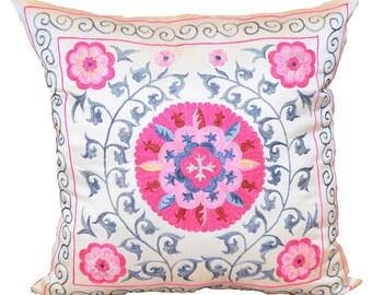 Pink Pillow, Handmade Suzani Silk Pillow Cover SP21 (SMP138), Suzani Pillow, Uzbek Suzani, Suzani Throw, Suzani, Decorative pillows