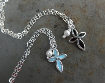 Enamel cross chain necklace with tiny pearl