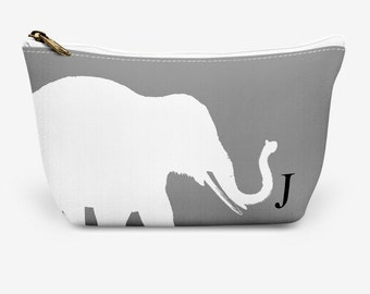 """Elephant Make Up Bag, Cosmetic Case, Carrying Pouch, Accessory Pouch 12.5""""x8.5"""" or 8.5""""x6"""""""