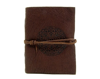 Leather book Terra Mandala in Buffalo Leather - diary, journal, notebook or travel diary