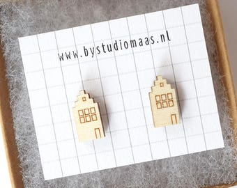 Tiny houses earrings, wood earstuds, laser cut jewelry, housewarming, gift for her, amsterdam, souvenir, canal house, dutch house