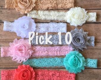 PICK 10 Shabby Lace Headbands, Baby Headband, Baby Girl Headband, Newborn Headband, Infant Headband, Lace Baby Headband, Baby Shower Gift