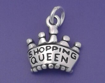 SHOPPING QUEEN Charm .925 Sterling Silver Crown Pendant - d42788