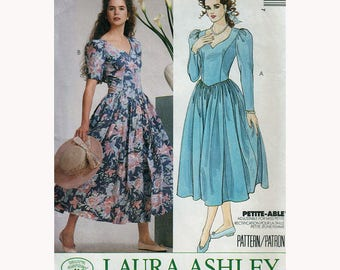 Laura Ashley Sewing Pattern for Dress with Princess Seams, Basque Waist & Sweetheart Neckline Vintage 80s Size 8 Bust 31.5 McCall's 4319 S