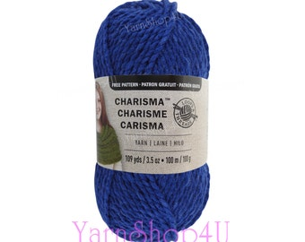 ROYAL Bulky Charisma Loops and Threads Yarn. Solid Bright Blue Chunky Soft Acrylic Yarn. For Hats, Scarf, Afghan, Loom. Yarn 3.5oz 109yds
