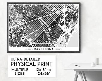 Buildings of Barcelona print | Physical Barcelona map print, Barcelona poster, Barcelona art, Barcelona map art, Barcelona wall art, Spain