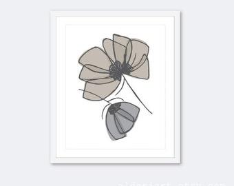 Tulips Art Print - Tulip Wall Art  - Modern Flowers Art Print - Gray Taupe - Neutral Colors - Aldari Art
