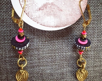Pink Mesopotamian Brass Dangles