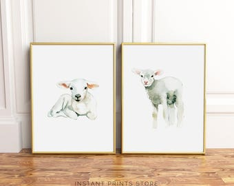 Lambs Set of 2 Nursery Prints Lamb Print White Neutral Grey Farm Animal Kid's Children's Watercolor Printable Poster Artwork