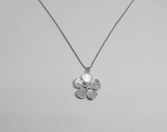 Cherry blossom necklace, silver cherry blossom necklace, flower necklace, flower jewelry, cherry blossom jewelry
