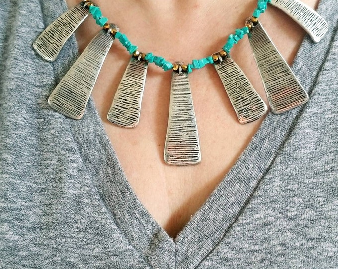 Turquoise and silver fan necklace, boho statement piece bib necklace, ethnic turquoise chip necklace, unique silver tribal fringe necklace