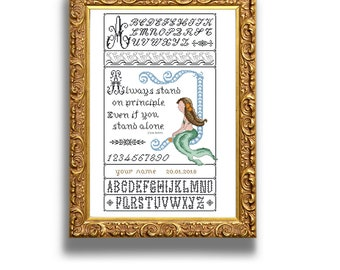 Mermaid sampler. Cross stitch sampler design. Antique alphabets and original design. Instant download PDF.