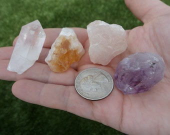 Set of 4 Beginners Crystals, Clear Quartz, Citrine, Rose Quartz & Amethyst Crystals, bulk crystals,wire wrapping,raw crystals,crystal points