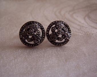 Vintage Marcasite Silver Screw back Earrings