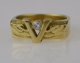 14k Yellow Gold Vintage Victory Diamond Ring Size 7.5
