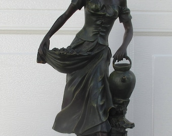Barefooted Young Lady Girl Carrying Picked Flowers and Carrying Water Jug Statue