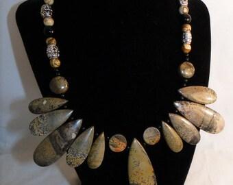 Wonderful Picture Jasper Gemstone Necklace