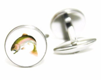 Fishing Cufflinks | personalized gift cuff links mens accessories gifts for him trout salmon fish fathers day hook