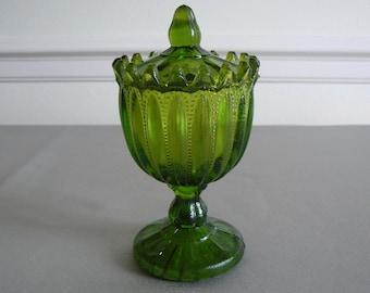 Vintage Moss Green Glass Lidded Sauce Bowl, Gracefully Standing on Pedestal Foot.